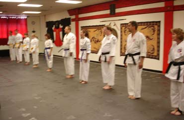 Karate students lined up